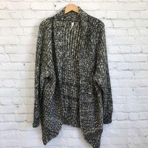 POL Marled Chunky Knit Oversize Cardigan Sweater